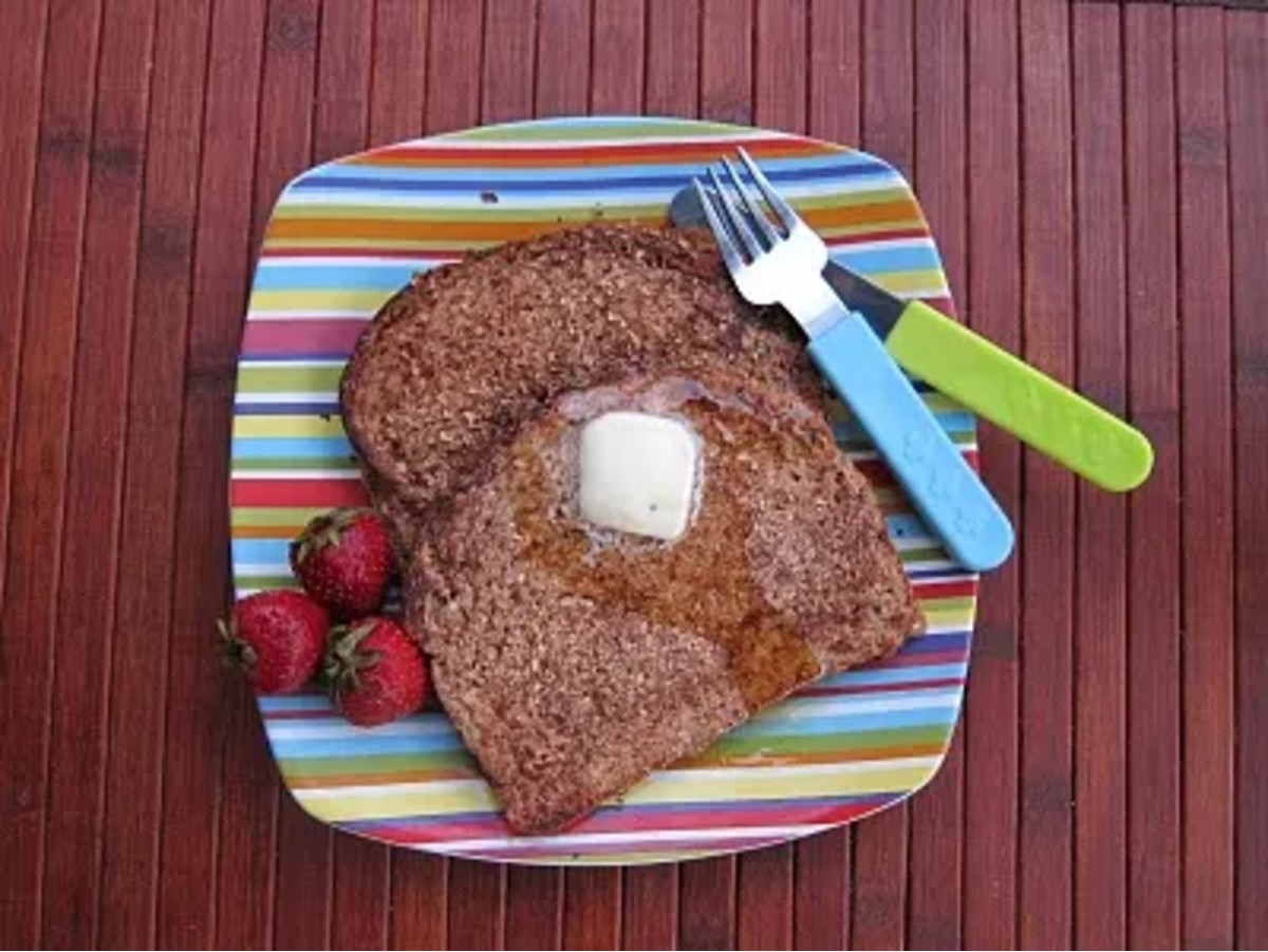 wheat germ toast on striped plate