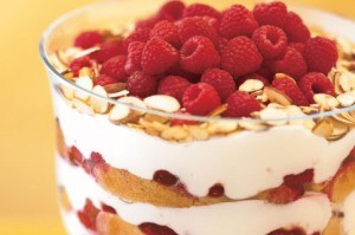 Raspberry, White Chocolate, Almond Trifle
