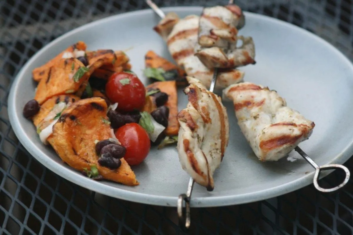 Grilled sweet potato salad and chicken skewers