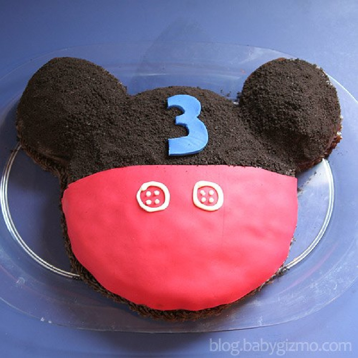 Mickey mouse cake with a 3 on it