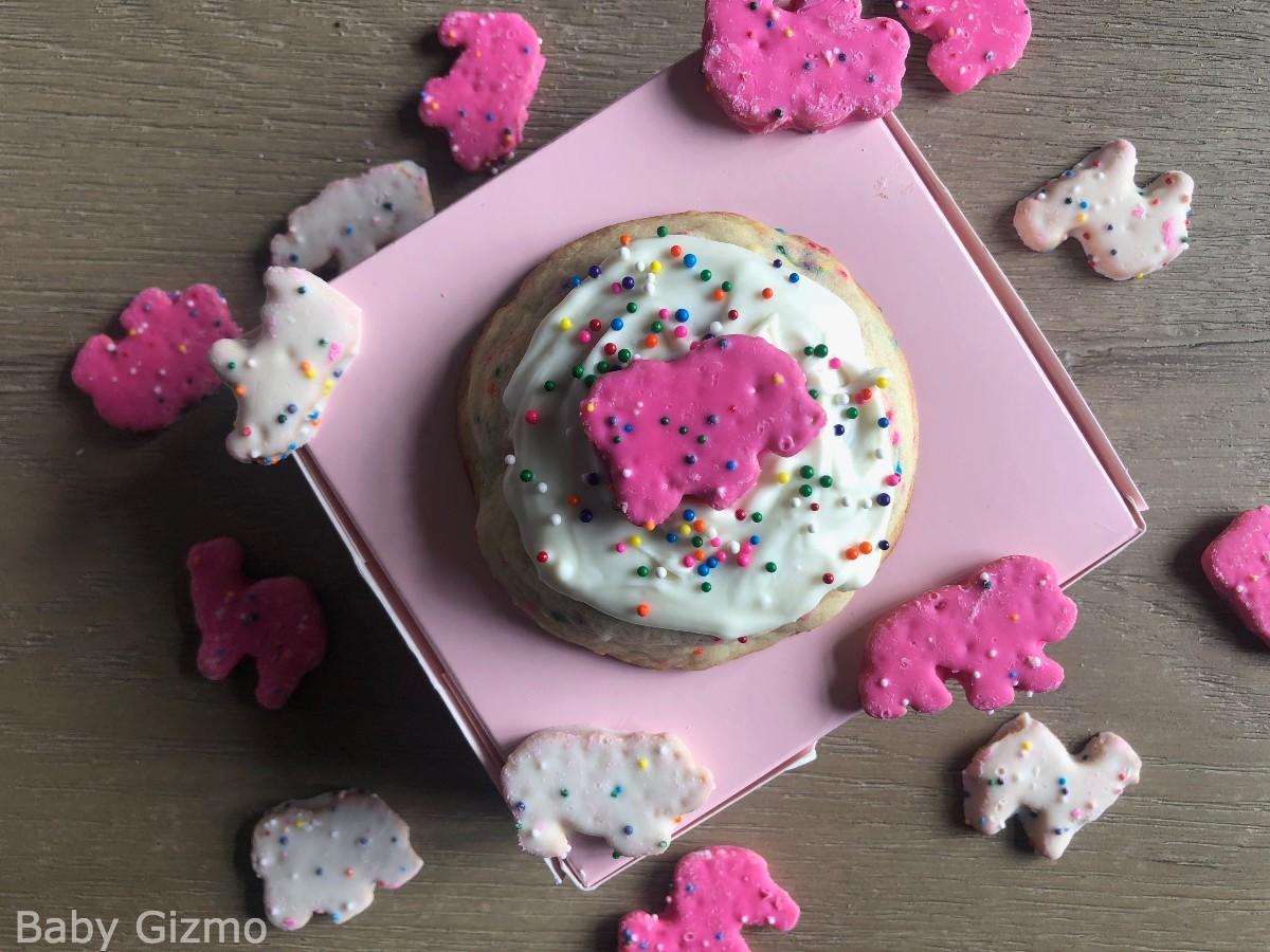 Crumble Circus Animal Cookies on a pink box