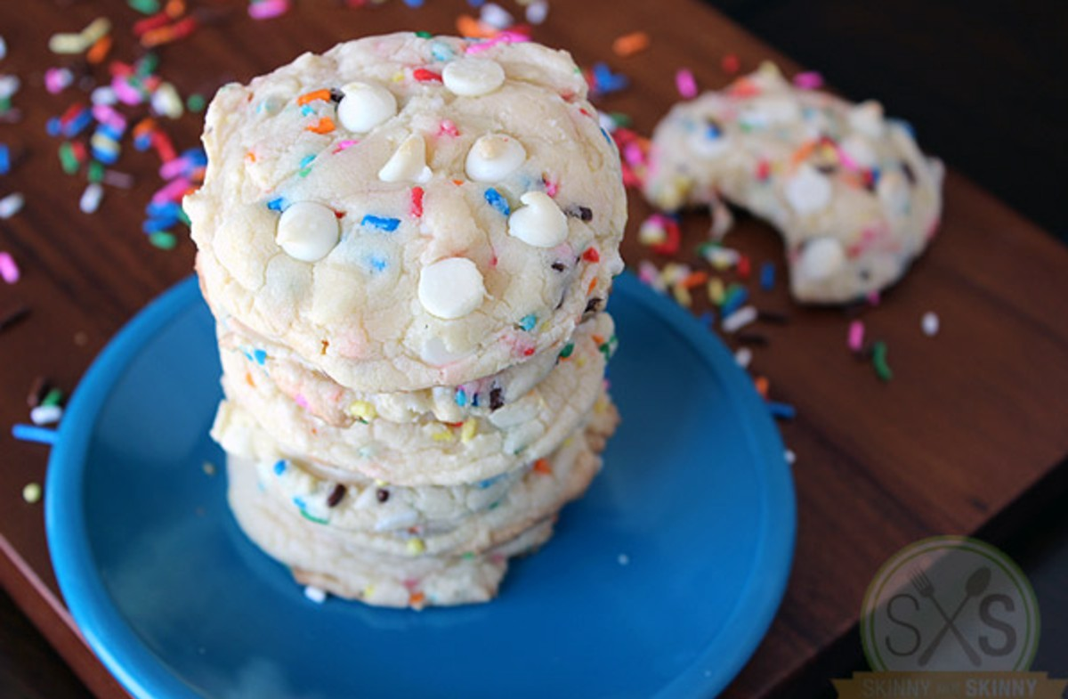 stacked funfetti cookies on blue plate