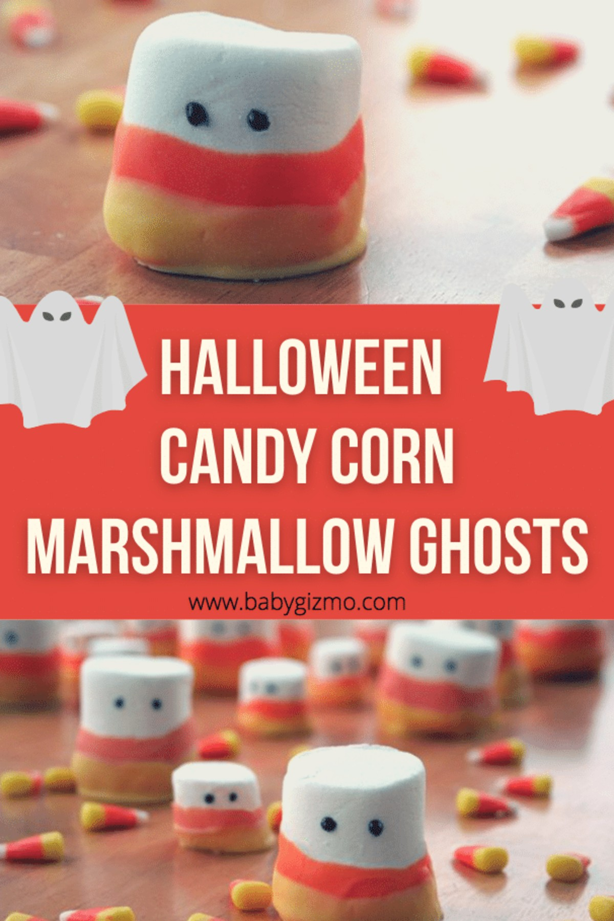 Halloween Candy Corn Marshmallow Ghosts