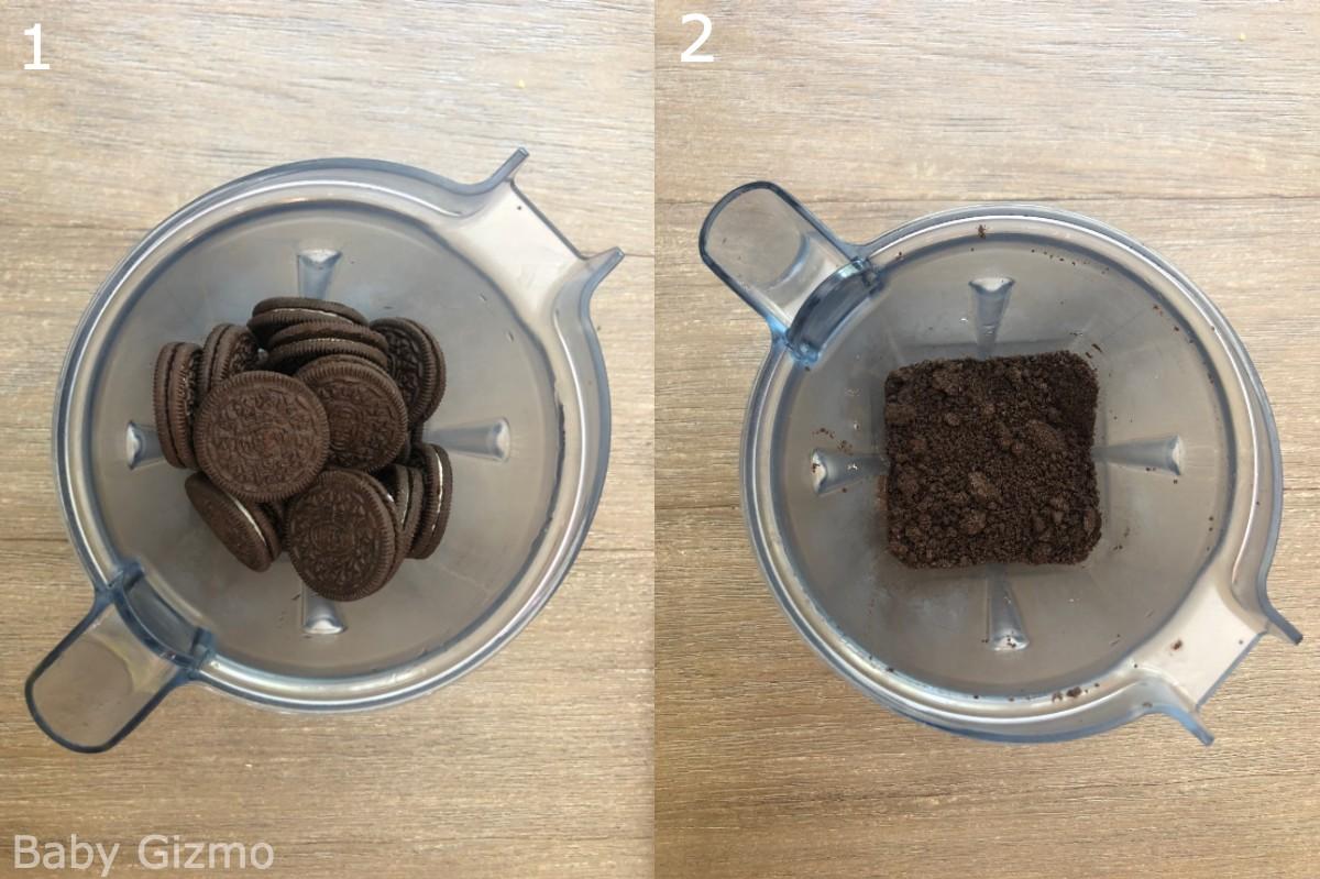 crushing oreo cookies in a blender
