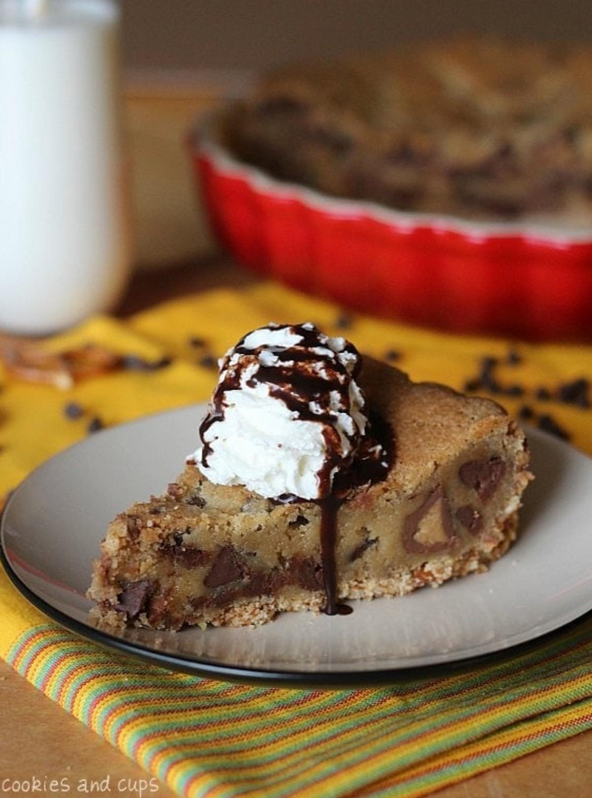 Pretzel Crusted Peanut Butter Cup Blondie Pie