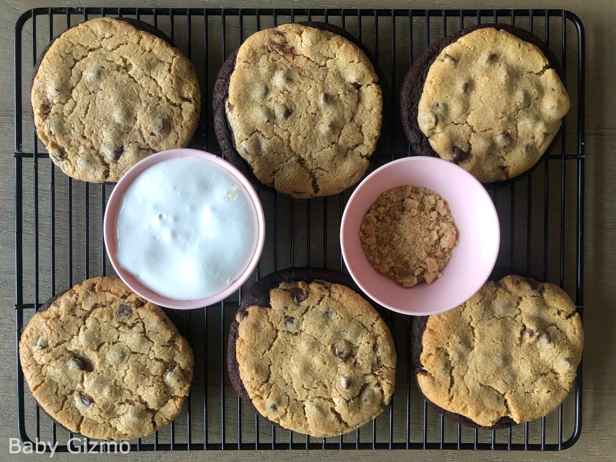 Brownie smores cookie on cooling rack