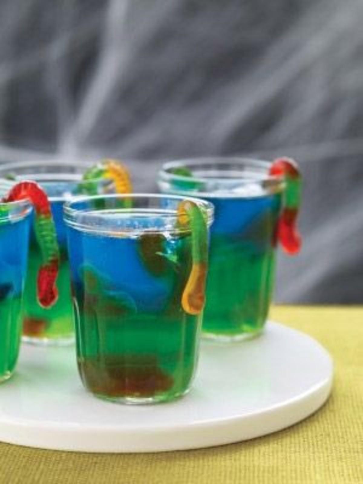 Slimy Jell-O Snacks on a white plate