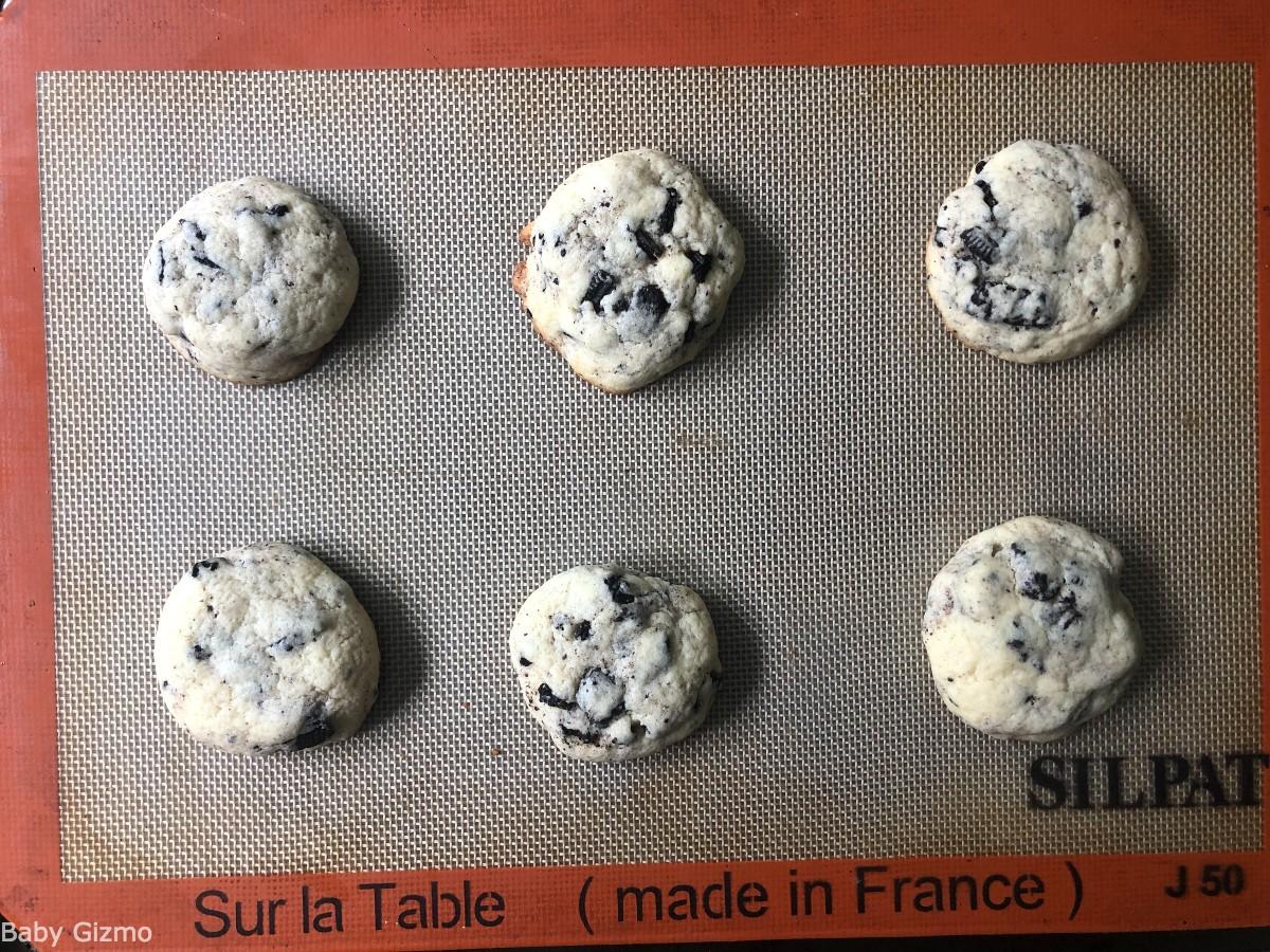 oreo cookies and cream cookies on baking sheet