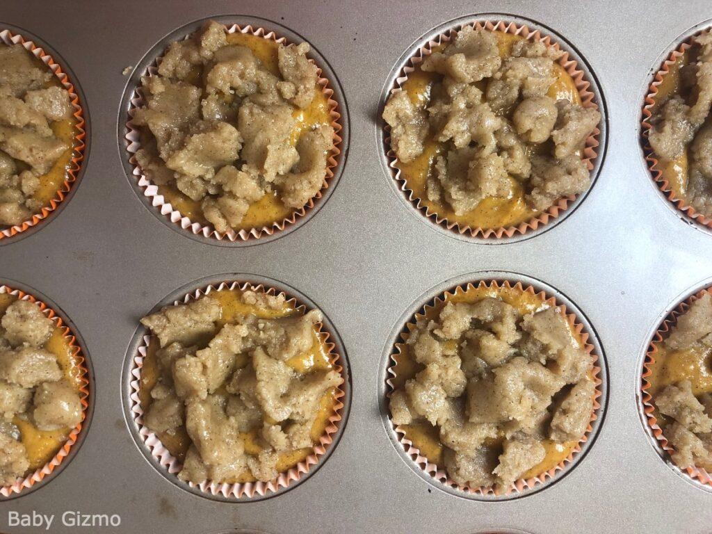 pumpkin crumb muffins in pan