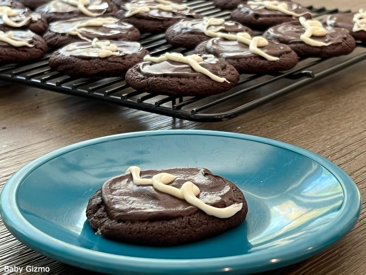 Chocolate Cookies on blue plate